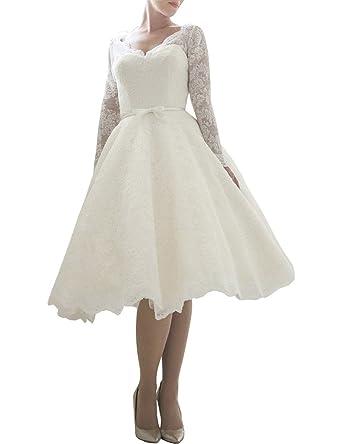 Lafee Bridal Vintage Long Sleeves Lace Wedding Dress Short Tea ...