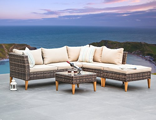 Wood Wicker Furniture (Outdoor Patio Furniture Wicker Sectional Sofa 5-seater All Weather Deep-Seating Set, Khaki Cushions, 2 Stripe Throw Pillows By Suntone Brown(4Piece))