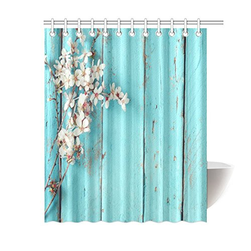 Sixties Accessories (InterestPrint Beautiful Flower Decor Shower Curtain, Spring White Cherry Blossoms Tree on Blue Wooden Planks Polyester Fabric Bathroom Accessories 60 X 72 Inches)