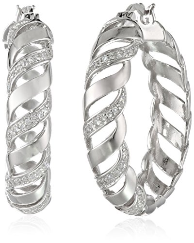 (Sterling Silver Cubic Zirconia Twisted Hoop Earrings)