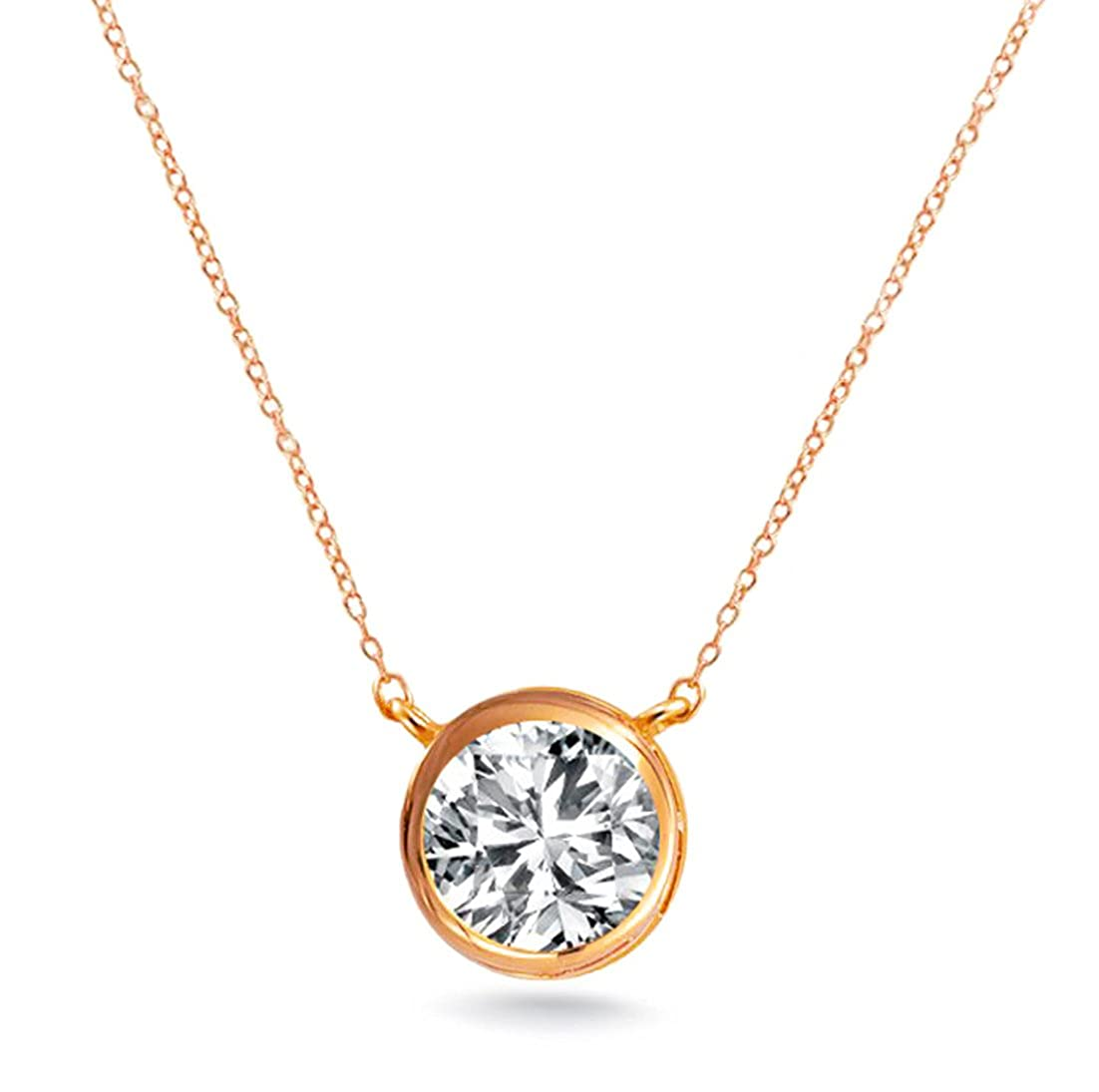 dae9eac75 Amazon.com: .925 Sterling Silver Rose Gold Tone Finish Solitaire Pendant  Necklace Round 7mm Bezel 16