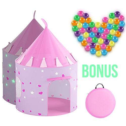 Kids Play Tent Princess Castle Children Playhouse BONUS 50 Pit Balls & Carrying Case [ Pop Up Portable Glow in the Dark Stars Pink ] House For Girls Boys Baby Toddler, Indoor & Outdoor Use
