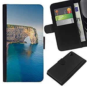 All Phone Most Case / Oferta Especial Cáscara Funda de cuero Monedero Cubierta de proteccion Caso / Wallet Case for Sony Xperia Z2 D6502 // Cliff Sea Summer Nature Geology
