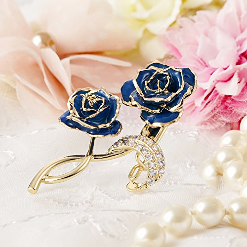 ZJchao Party Gold Blue Pins Rose Brooch Bridal Wedding Dress Plated Clips Bouquet for Flower 24K Brooch raZxrI
