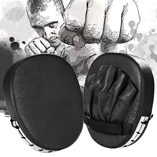Topeakmart 2PCS PU MMA Punching Boxing Mitts, Target Focus Kicking Palm Pads Training Sparring Gloves Black ()