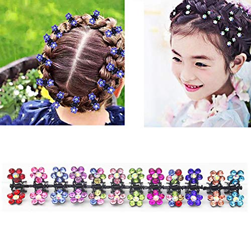 Luckkyme 60 Pieces Crystal Rhinestone Baby Girls Hair Claw Clips Mini Hair Clips Mix Colored Flower Hair Bangs Pin Kids Hair Accessories