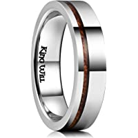 King Will Nature 5mm Silver Titanium Wedding Ring Thin Wood Inlay Pipe Cut Comfort Fit