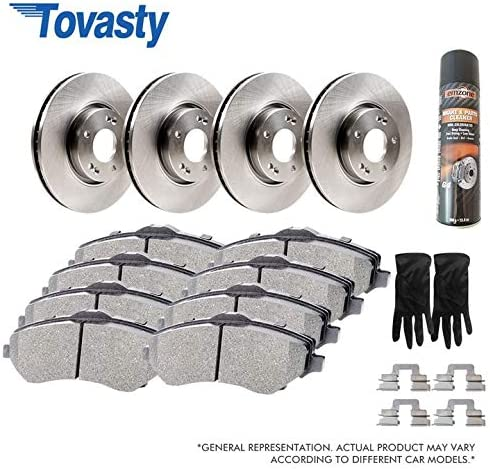 OE Series Rotors /& Ceramic Pads /& Hardware Clips /& Brake Cleaner /& Gloves for 06 2006 07 2007 08 2008 09 2009 10 2010 11 2011 12 2012 13 2013 14 2014 15 2015 16 2016 17 2017 Ram 1500 BK240130111 Tovasty Front and Rear Brake Kit