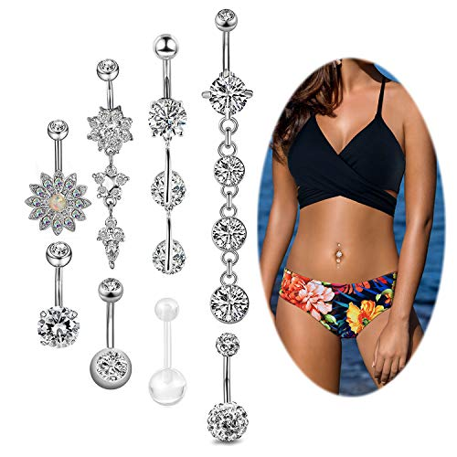 Adramata 16PCS 14G Belly Button Rings for Women Dangle Navel Rings Curved Barbell CZ Body Piercing