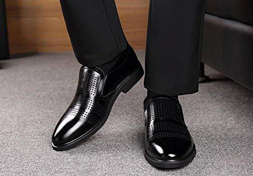 Mariage D'été Sandales Cuir Hommes Affaires en Chaussures NBWE en Cuir Creux Formelle Black Robe de Respirant Décontracté RZdx7wBBq