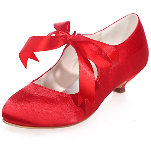 For Lace Heels Wedding Shoes Low Dance Bow Satin With Round Shoe 4 Toe up 5 Girls Bridal Party 04 Uk Szxf9001 Red 7 Uk Sarahbridal Size ICqPwdnWZZ