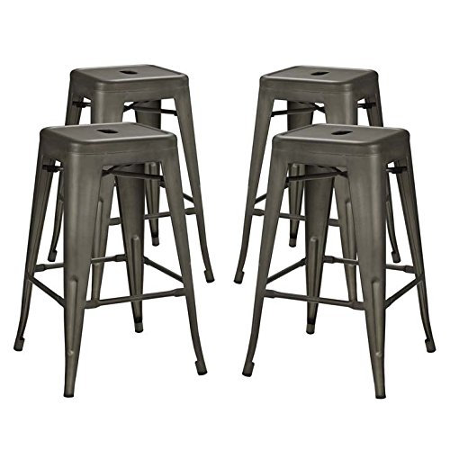 Modway Promenade Modern Aluminum Four Bistro Counter Stool Set in Brown