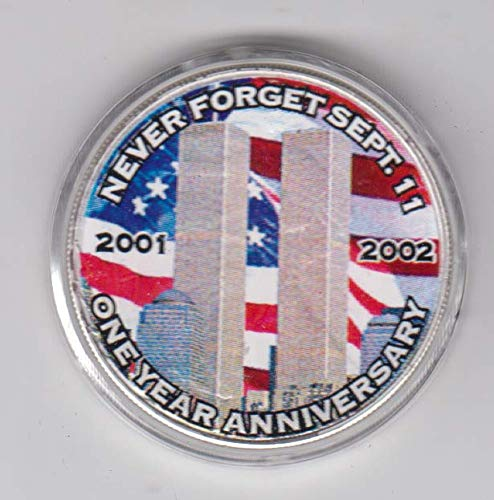 2002 American Silver Eagle Coin - Colorized World Trade Center - Capsull and Display Box.999 Fine Silver $1 Choice Uncirculated