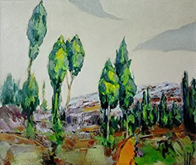 Cypress on Hill By Original Artist - Chen DeJun. Museum Quality Oil Painting. (Unframed and Unstretched).