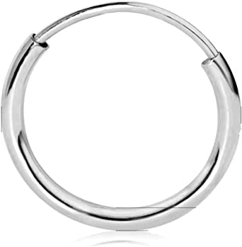 Cartilage Ears Details about  /14k White Gold Plated Endless Hoop Earrings Nose or Lips