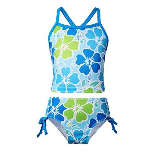 Youth Girls Two Piece - iEFiEL Kids Big Girls' Youth 2 Piece Zebra Halter Tankini Swimwear Bathing Suit (10, Blue)