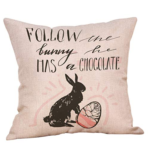 Happy Easter Bunny Pillow Cover Linen Sofa Cushion Cover Home Decor Pillow Case(2-E,Size:45cm45cm)]()