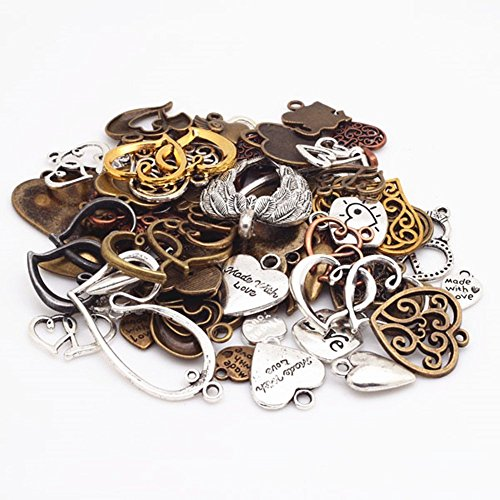 Costume Jewelry Making Supplies (100g Assorted Love Heart Shape Punk Steampunk Charm Pendant Connector for Necklace Bracelet Anklet DIY Crafting Accessories(Color&Random))