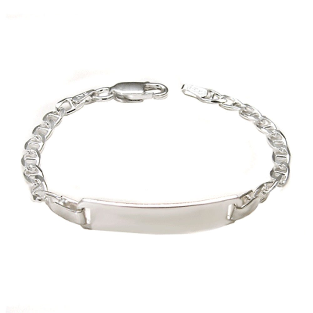 Sterling Silver 6MM Italian Fancy Baby ID Bracelet with Lobster Clasp Closure Crazy2Shop SMO9MarinaBabyID-5