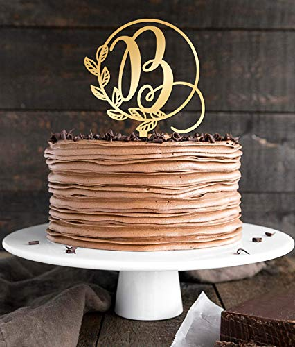 Mirror B Letter Monogram Initial Cake Topper,Wedding Gold Cake Decoration Favors Cake Decorating Party Supplies