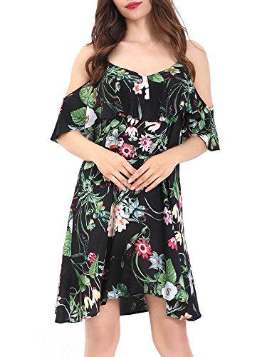 GUBERRY Floral Midi Dress, Women's Cold Shoulder Adjustable Strappy Summer Dress (Shoulder Dress Strappy)