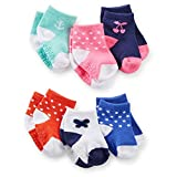 Carter's Baby-Girls Newborn 6 Pack Cherry Anchor Butterfly Computer Socks, Multi, 0-3 Months