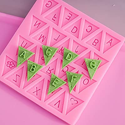Letters Chocolate Candy Molds Making A-Z Alphabet Silicone Mould Trays, 2 Pack Small Pastry Baking DIY Supplies, Triangle