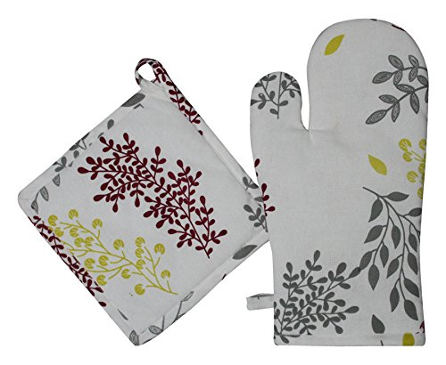 Airwill 100% Cotton, Oven Mitts & Pot Holder Gift Set , Heat Resistant, Machine Washable, Superior Protection & Comfort–Elegant Design for Everyday Kitchen Basic - Cream[Leaf (Flower Oven Mitt)