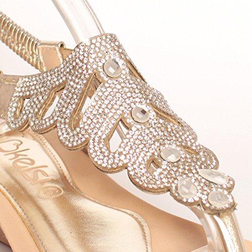 para vestir de EnvyLondon Sandalias dorado mujer Ftx1qYwq