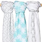 Swaddle Blanket Muslin - (3 Pack,Floral,Polka Dot,Leaf Print) Large Summer 47 x 47 inches - Premium Bamboo Cotton Swaddle Blanket Set - Perfect Baby Blanket for Girls