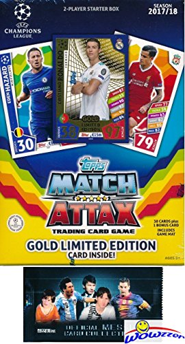2017/18 Topps Match Attax Champions League Soccer Starter Box with 39 Cards Including EXCLUSIVE GOLD Limited Edition RONALDO & 2 Goalkeeper Cards! PLUS Game Mat & Rules with BONUS Lionel Messi Pack! Wowzzer