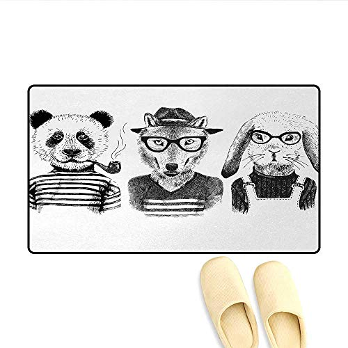 Bath Mat,Hipster Panda Bear Cigar Fox and Rabbit Glasses in Human Clothes Illustration,Door Mat Small Rug,Black Grey -