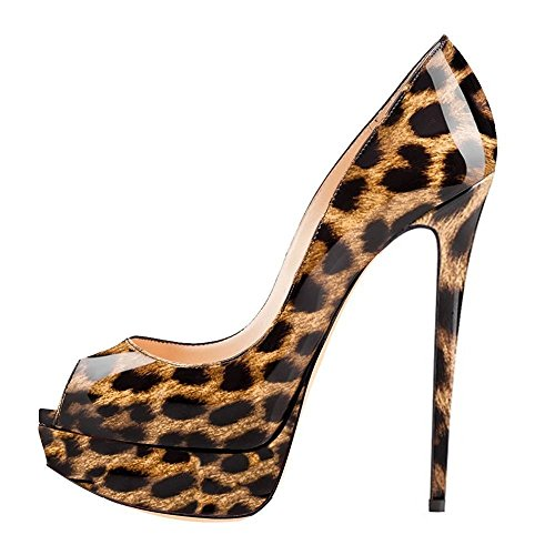Platform Peep On Leopard Dress Ladies Stiletto Pumps Womens Party Shoes Slip High Heels AIWEIYi Toe 5Uzx4XwAq