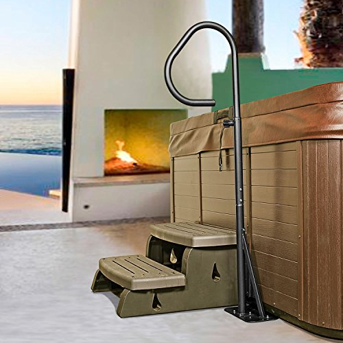 Hot Tub Handrail - Spa Side Safety Rail with Slide-under Mounting Base by (Hot Tub Cabinet)