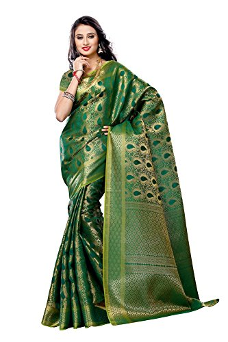 Green Silk Saree - Mimosa Women's Art Kanchipuram Silk Saree with Blouse,Color:Green(3190-164-GRN)