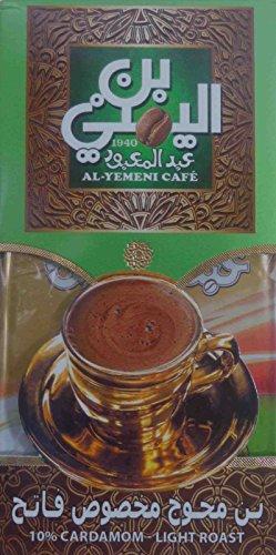 EL-YEMENI Original Turkish Coffee Cafe Arabic Arabian Arabica Ground Roasted Mud Coffee (10%Cardamom-Light Roast 600Gm)