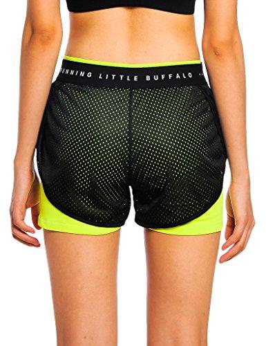 Jimmy Design - Pantalón corto deportivo - para mujer Schwarz + Grün
