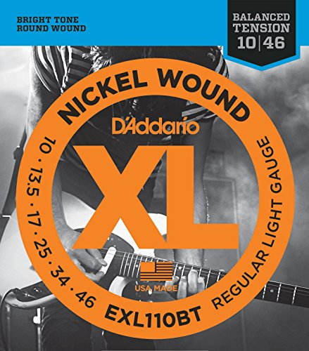 10 Sets of D'Addario EXL110BT Nickel Wound Electric Guitar Strings, Balanced Tension Regular Light, 10-46 (Light Regular Wound Nickel)