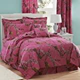Realtree AP Fuchsia Hot Pink Camo 8 Pc Queen Comforter Set (Comforter, 1 Flat Sheet, 1 Fitted Sheet, 2 Pillow Cases, 2 Shams, 1 Bedskirt) SAVE BIG ON BUNDLING!