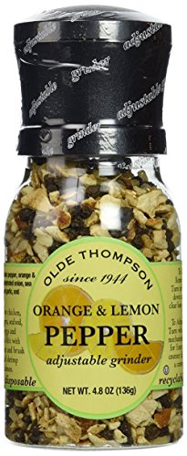 Olde Thompson Adjustable Grinder, Orange & Lemon Pepper, 4.8 oz