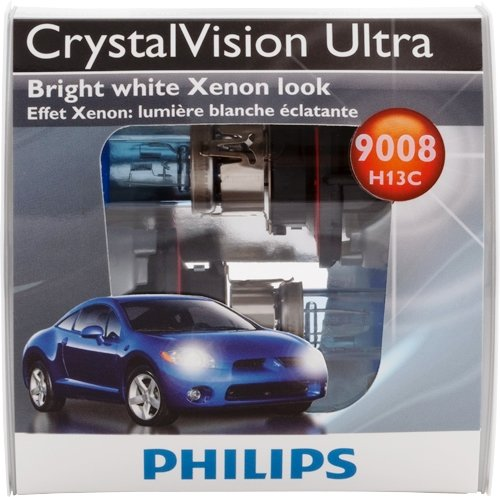 Philips 9008 / H13 CrystalVision ultra Upgrade Headlight Bulb (Pack of 2) (White Halogen Headlamp Bulb)