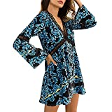 Women Hollow Out Swing Mini Dress,Connia Sexy Fashion Fall Deep V-Neck Holiday Daily Homewear Loose Dresses (XL, Blue)
