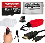 64GB Memory Card - Holder Handgrip Stabilization Video Grip - HDMI Cable - Mini Tripod with Adapter - Float Strap - Dust Cleaning Kit for GoPro Hero4 Hero3+ Hero3 Hero2 Hero 4 3+ 3 2 1 Camera Camcorder