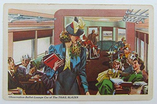 (VINTAGE POSTCARD BUFFET LOUNGE CAR TRAIL BLAZER PENNSYLVANIA RAILROAD railway)