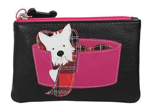KWH Mala Leather Purple Scottie Scottish Terrier Dog Pocket Coin Purse Wallet