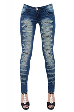 New Women's Ladies denim Blue Tight Skinny jeans DISTRESSED RIPPED ...