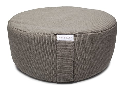 Shastana XL Extra-Large 18' Meditation Pillow Cushion Zafu Yoga Bolster. Organic Cotton Gray Knit Design with Buckwheat Hull Fill. Big and Beautiful.