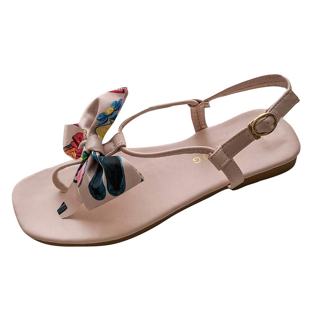Fastbot Women's Summer Sandals Open Toe Casual Comfort Fashion Butterfly-Knot Flat-Soled Square Toe Shoes Pink