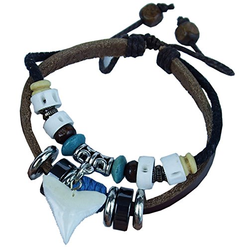 GemShark Real Shark Teeth Bracelet Leather Charm Bangle Jewelry with Vertebra Fish Bone (Brown)