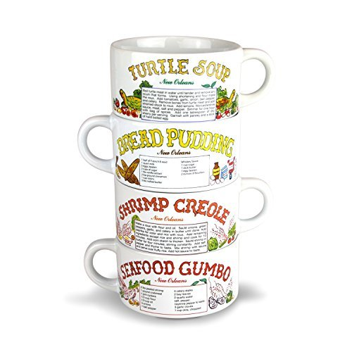 - Recipe Gumbo Bowl Set of 4 -Turtle Soup, Shrimp Creole, Seafood Gumbo, Bread Pudding